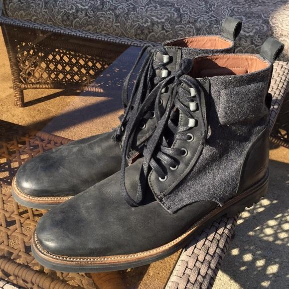 f8479d15aa370 J Shoes - Thomas Felt + Leather Lace-up Boots